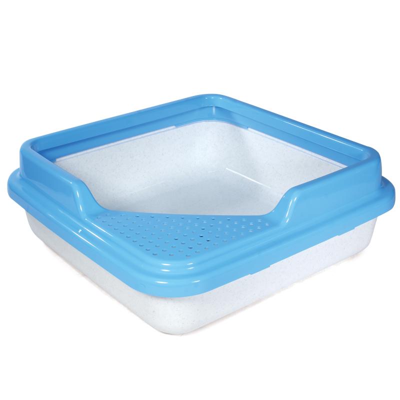 Триол Туалет P755 для кошек квадратный с бортом, белый мрамор с голубым, 435*435*145мм