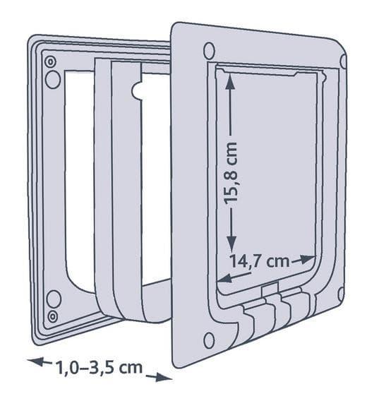 Trixie Дверца для кошки 4 позиции, электромагнитная (14,7х15,8см) белая артикул 3869