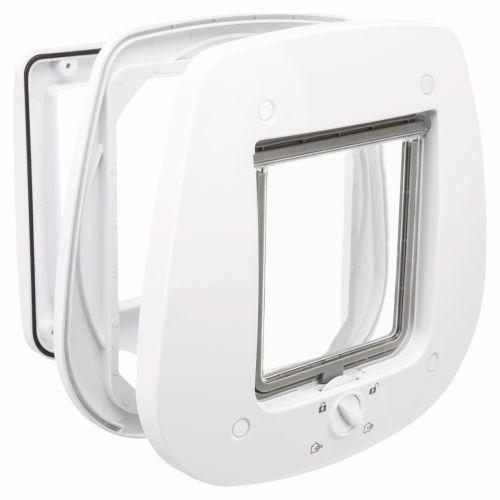 Trixie Дверца для кошки 4-Way для стеклянных дверей, 27 х 26 см, белая, арт.44221