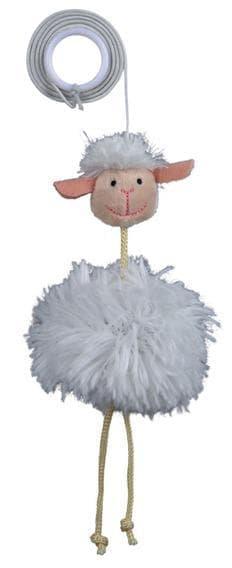 Трикси Игрушка Овца с колокольчиком, на резинке, 20 см, плюш, арт.45560