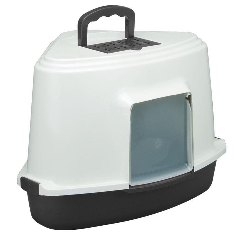 Триол Туалет LB03 для кошек закрытый угловой (совок в комплекте), темно-серый, 565*425*400мм
