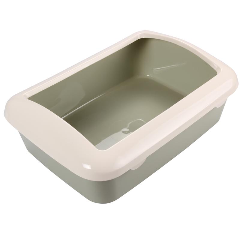 Триол Туалет P547 для кошек прямоугольный с бортом, оливковый, 420*300*145мм