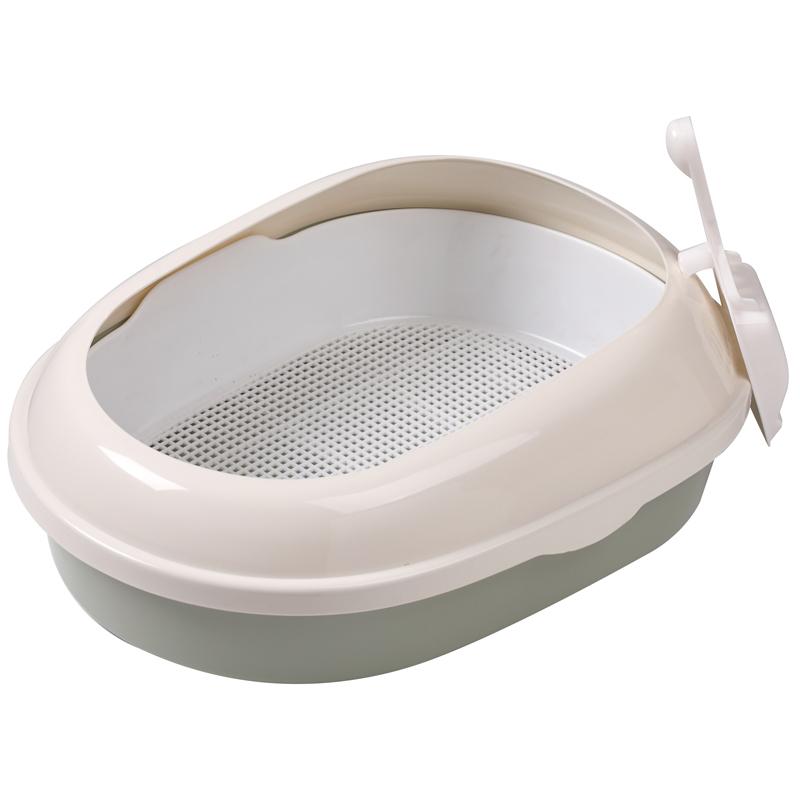 Триол Туалет P541A для кошек овальный с бортом (совок и сетка в комплекте), оливковый, 500*370*170мм
