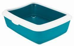 Trixie Туалет для кошек Classic с бортиком, 37х15х47 см, арт. 40312-т.-серый, арт.40315-серый, арт.40316-синий