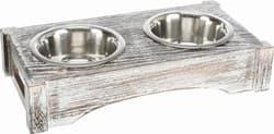 Трикси Набор стальных мисок на деревянной подставке, 2 х 0,45 л/ф 12 см, 36 х 7 х 19 см, белый, арт. 24357
