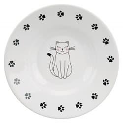 Трикси Миска керамическая с кошкой, 0,3 л/ 12 см, кремовый, арт. 24651