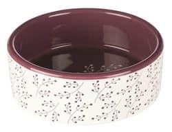 Трикси Миска керамическая, 1,4 л/ 20 см, белый/ягодный, арт.25125