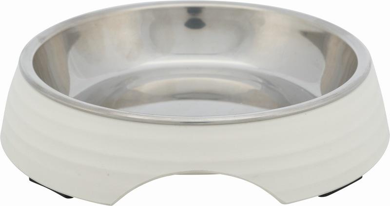 Трикси Миска, стальная с подставкой из меламина, 0.2 l/14 см, белый, арт.25186