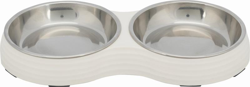 Трикси Миска двойная, стальная с подставкой из меламина, 2х0.2/13 см/27х3х14 см, белый, 25187
