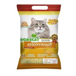 Наполнитель HOMECAT Eco Line, с ароматом кукурузы, комкующийся 6л (соя) арт.63016
