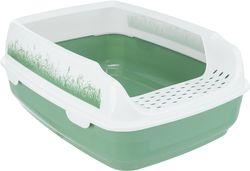 Trixie Туалет для кошек Delio, с бортиком, 35х20х48 см, белый/зеленый, арт.40398