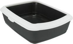 Трикси Туалет Classic с бортиком, 37х15х47 см, темносерый/белый, арт.40184