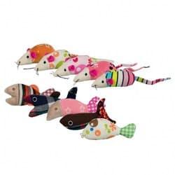 "Trixie Набор игрушек ""Мышки и рыбки"", 42 шт., плюш/ткань, 9–12 см, арт.40763"