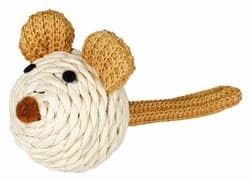 """Трикси Игрушка """"Мышка с погремушкой"""", верёвка, 5 см, арт.45758"""