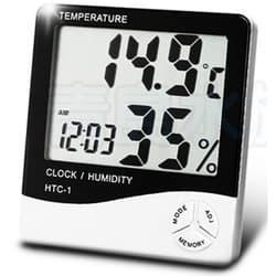 Термогигрометр электронный (часы, температура, влажность, сигнал тревоги) 95х20х100мм