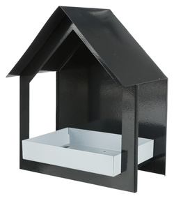 Трикси Кормушка для птиц, настенная, 400 мл/19х23х12 см, антрацит/белый, арт.55430