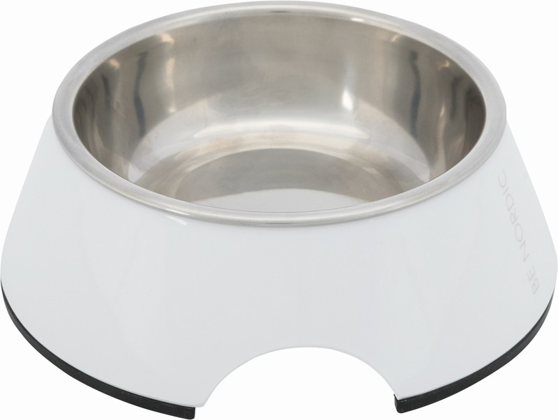 Трикси Миска BE NORDIC, стальная с подставкой из меламина, 0,2 л/14 см, белая, арт.25060