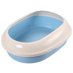 Триол Туалет P541 для кошек овальный с бортом, голубой, 490*380*160мм