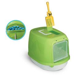 Триол Туалет P658 для кошек закрытый  (совок в комплекте), 500*350*340мм, цвет в ассортименте