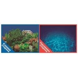 Фон двухсторонний с одной самоклеящейся стороной Синее море/Растительный пейзаж 30x60см 9063/9071