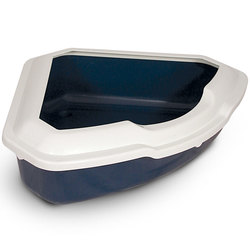 Триол Туалет CT03 для кошек угловой с бортом, цвет в ассортименте, 565*425*150мм