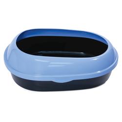 Триол Туалет P541 для кошек овальный с бортом, цвет в ассортименте, 490*380*160мм