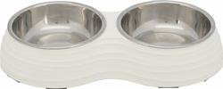Трикси Миска двойная, стальная с подставкой из меламина, 2 X 0.2 л/11 см/25х4х14 см, белый, арт.25183
