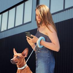 Collar Поводок-рулетка круглая WAUDOG голубая/светлосерая, размер XS-M до 40кг, 2,9м