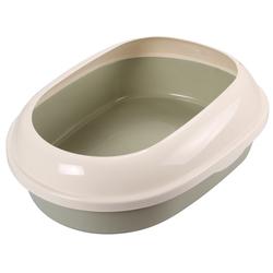 Триол Туалет P541 для кошек овальный с бортом, оливковый, 490*380*160мм