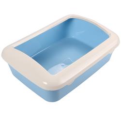 Триол Туалет P547 для кошек прямоугольный с бортом, голубой, 420*300*145мм