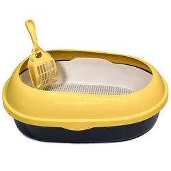 Триол Туалет P541A для кошек овальный с бортом (совок и сетка в комплекте), цвет в ассортименте, 500*370*170мм