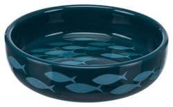 Трикси Миска керамическая для короткомордых пород, 0.3 л/15 см, петроль/синий, арт. 24803