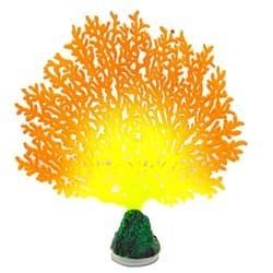 Флуоресцентная аквариумная декорация GLOXY Коралл веерный оранжевый, 13,5х3х16см