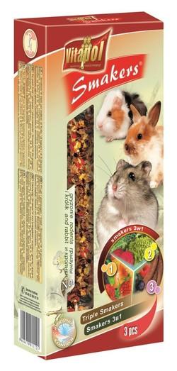 Vitapol Лакомство Smakers для грызунов и кроликов 3в1 (овощи/плоды pожкового дерева/фрукты) STANDARD 135 г
