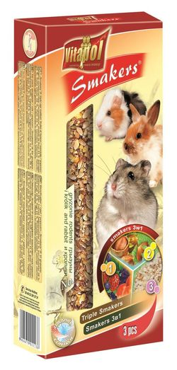 Vitapol Лакомство Smakers для грызунов и кроликов 3в1 (орех/лесные ягоды/попкорн) STANDARD 135 г