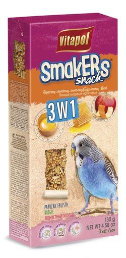 Vitapol Лакомство Smakers®  3 в1 (яйцо/мед/фрукты) для волнистых попугаев STANDARD 3 по 130г