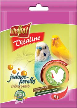 Vitapol Корм для волнистых попугаев VITALINE йодовые жемчужины 20г. арт.2143