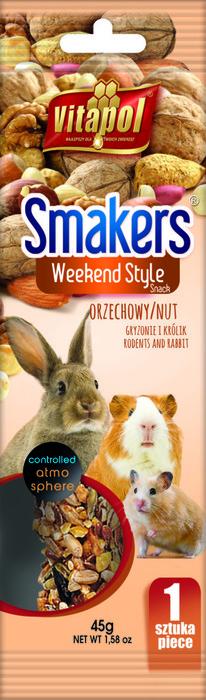 Vitapol Лакомство Smakers ® для грызунов и кроликов с орехами WEEKEND STYLE 90г в пакете (1 шт.)