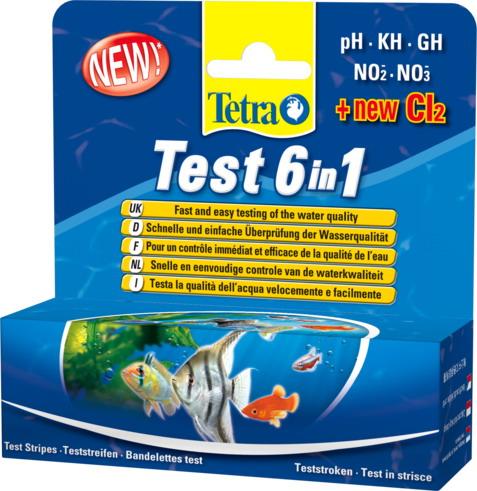 Tetra Тест 6 в 1 GH/kH/NO2/NO3/pH/CL2 полоски для пресной воды 25шт